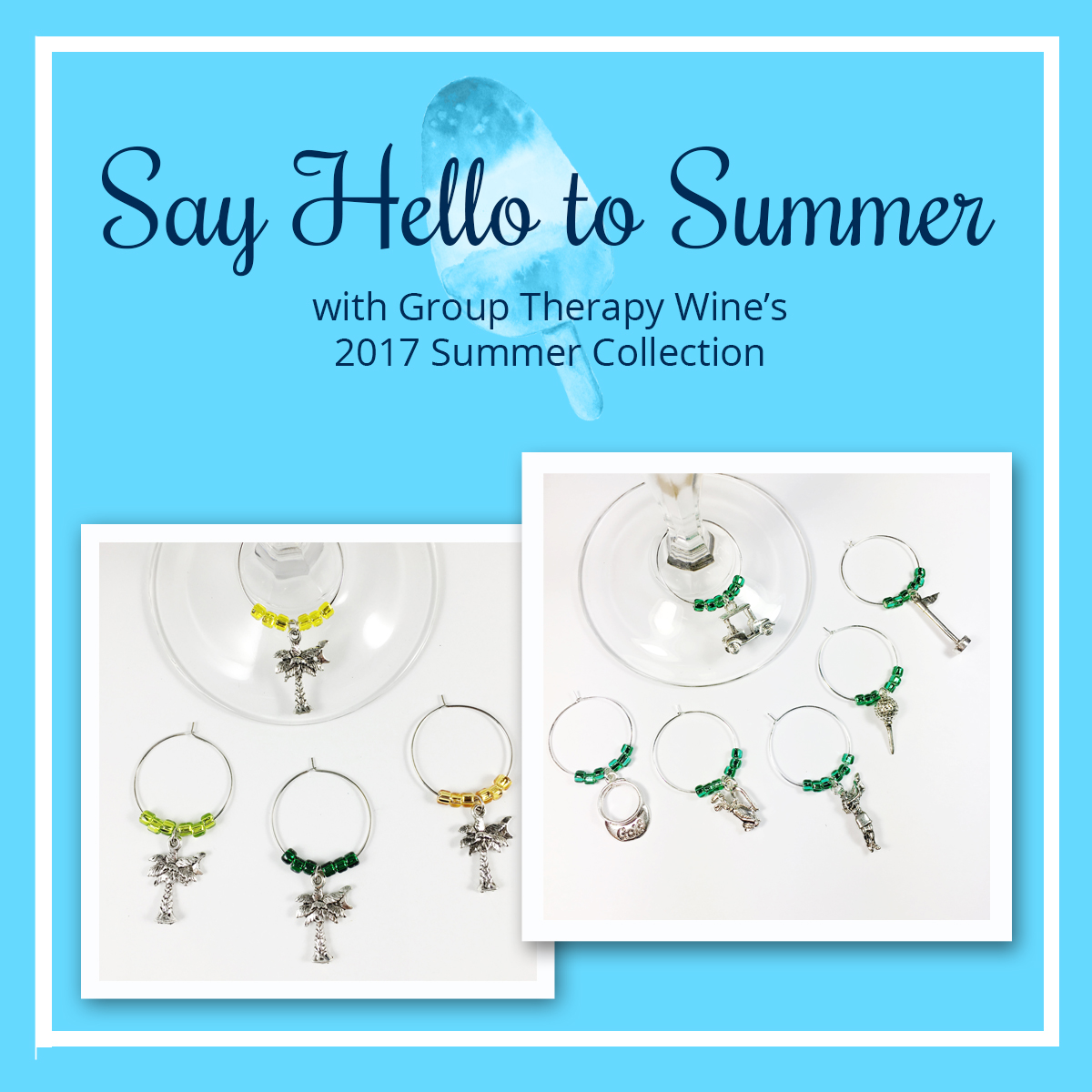 summer wine charms, group therapy wine, nautical wine charms, nautical keychains, anchor bottle stopper, nautical bottle stopper, 2017 summer collection