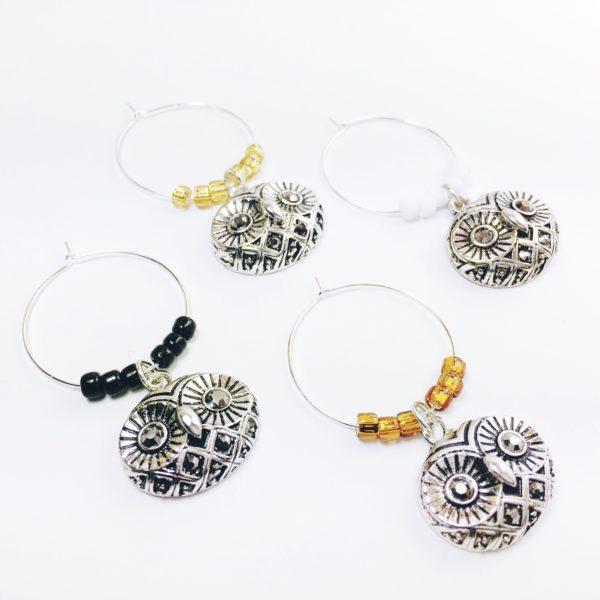 modern owl wine charms, owl wine charms, cute owl decor, decorative owls, cute owl gifts, cute owl decor