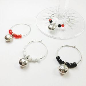 ladybug wine charms, garden gift, gardening gift, lady bug wine charms, lady bug decor, lady bug gift idea