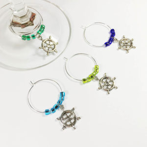 ship wheel wine charms, nautical wine charms