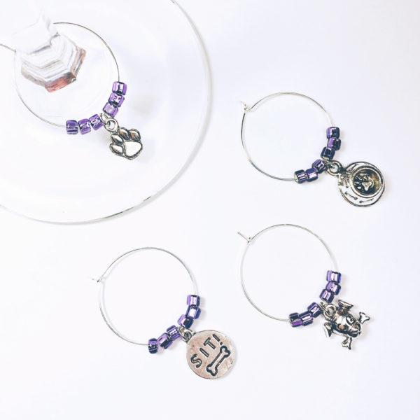 purple dog wine charms, dog lover gift, dog wine charms, wine charms dog, wine charms pet, pet wine charms, wine charms dog
