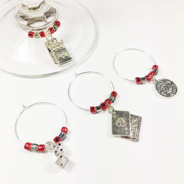 casino wine charms, game night wine charms, game night decor ideas, game night decoration ideas