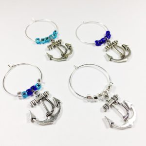 anchor wine charms, navy wine charms, nautical wine charms, nautical decor, kitchen decor nautical