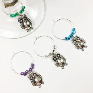 cute owl wine charms, owl wine charms, cute owl decor