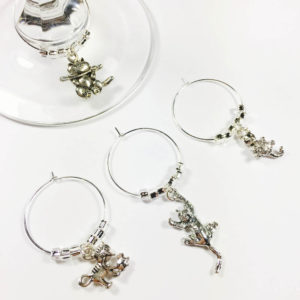 white cat wine charms, pet wine charms, cat lover gift