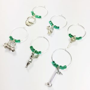 golf wine charms, unique golf gift, gift for golfer, gift for golf lover