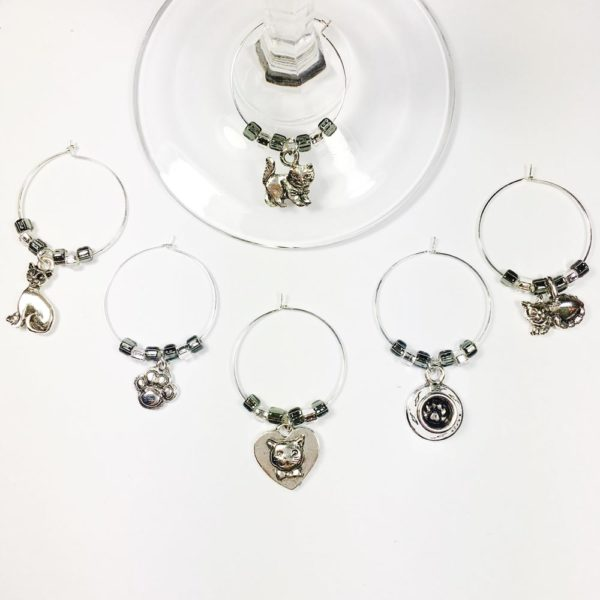 cat lovers gift, cat wine charms, gift for cat lovers