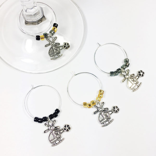 helicopter wine charms, gifts for helicopter enthusiasts, helicopter themed gifts, gifts for helicopter lovers, military wife gift ideas, pilot wife gift ideas