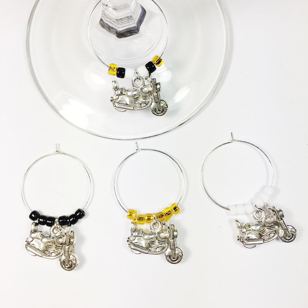 Chopper Motorcycle Wine Charms Chopper Motorcycle Gift