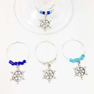 nautical wine charms, ship wheel wine charms, nautical décor, nautical baby shower decorations, nautical party favor, sailing wine charms