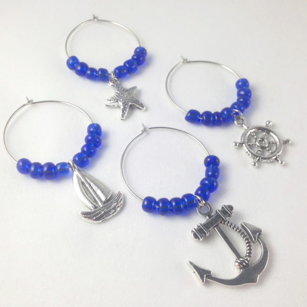 blue sailing wine charms, anchor wine charms, navy wine charms, nautical wine charms, nautical decor, kitchen decor nautical