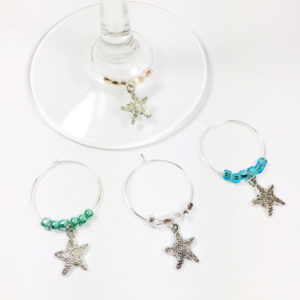 starfish wine charms, starfish kitchen decor, nautical kitchen decor, nautical wine charms, beach wine charms