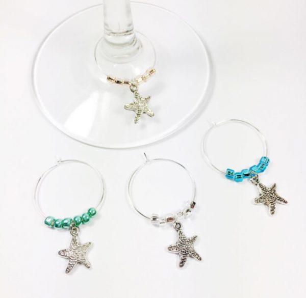 starfish wine charms, starfish kitchen decor, nautical kitchen decor, nautical wine charms, beach wine charms