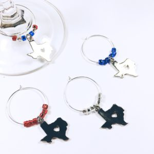 texas state wine charms, texas wine gift, texas wine charms
