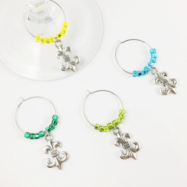 fleur de lis wine charms, fleur de lis bar decor, fleur de lis New Orleans wine glass charms, fleur de lis wine glass charms, bar decor fleur de lis, fleur de lis bridal shower favors