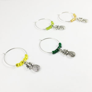 pineapple wine charms, pineapple décor, summer wine charms, pineapple wine gift