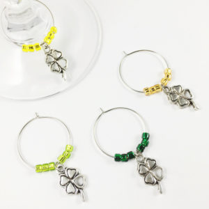 clover wine charms, lucky wine charms, wine charms lucky clover, lucky clover decoration ideas, wine charm clover, wine charm four leaf clover, four leaf clover wine charms