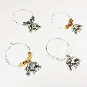 elephant wine charms, elephant wine glass charms, elephant decor baby shower, rustic elephant decor, unique elephant gift idea