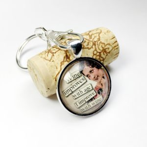 I Improve With Wine keychain, silver key chains, best friend key chains, key chain favors, key chains for women, unique keychains, funny keychains