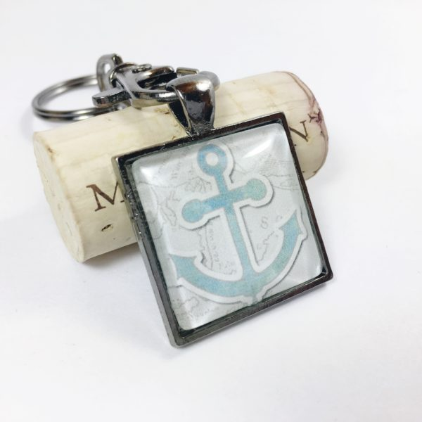 nautical anchor keychain, silver key chains, key chain favors, key chains for women, keychains for men, unique keychains, nautical keychains, silver anchor keychain