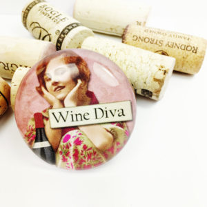 wine diva, large fridge magnet, large refrigerator magnet, unique gift for a wine diva