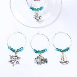 summer wine charms, Nautical décor, nautical wine charms, unique sailing gifts, gifts for sailing lovers, unique summer wine gifts, wine charms summer party favors, beach party decorations, beach party decor