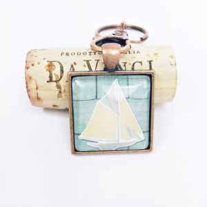 sailboat keychain, green sailing keychain, sailing enthusiast gift, copper sailboat keychain, gunmetal sailboat keychain, sailboat keychain favors, sailing keychain favors, beachy keychain, beachy keychain favors