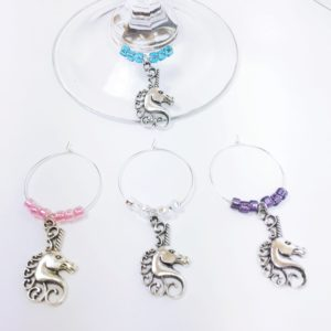 unicorn wine charms, Bridal shower hostess gift, baby shower hostess gift, gift hostess, fairytale décor, unicorn gift ideas