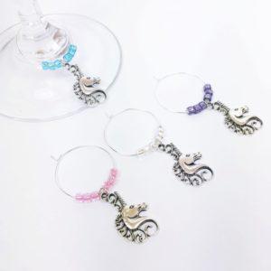 unicorn wine charms, unicorn wine charms, Bridal shower hostess gift, baby shower hostess gift, gift hostess, fairytale décor, unicorn gift ideas, unicorn decor