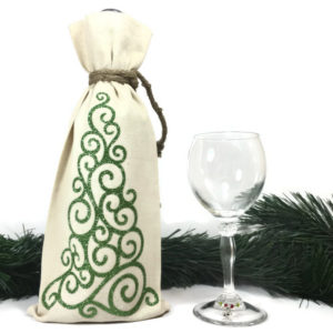 christmas wine bags with glittery christmas tree