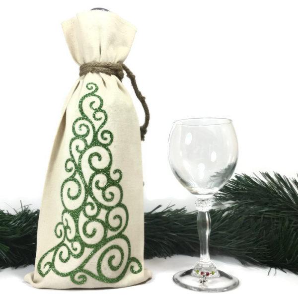 christmas wine bags with glittery christmas tree
