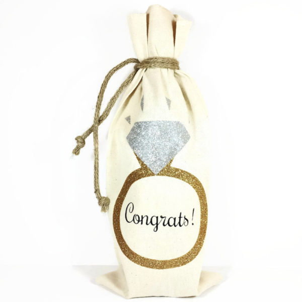 Canvas Wine Gift Bag with Gold and Silver Engagement Ring and Congrats! written in black