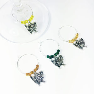 set of 4 turkey charms for wine glasses for Thanksgiving