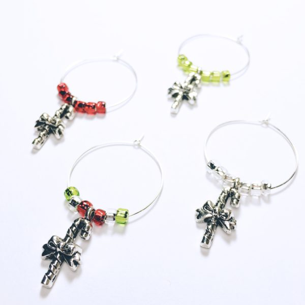 set of 4 candy cane wine charms with red green and silver beads