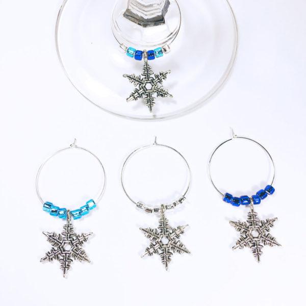 snowflake wine charms, set of 4