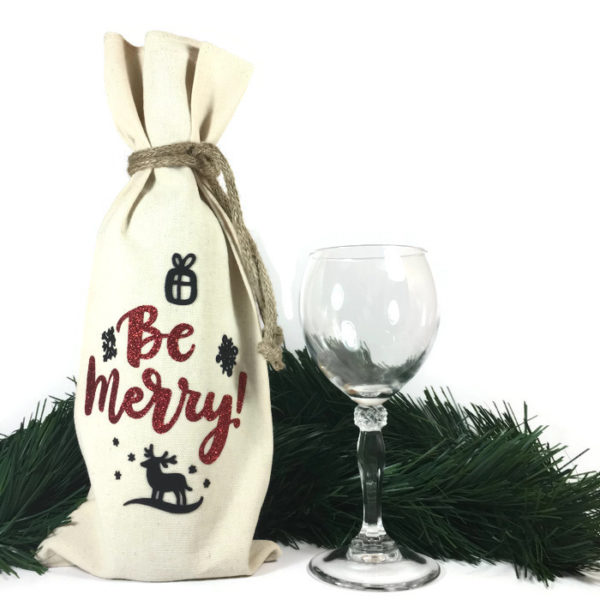 Be Merry Wine Bag is 100% cotton with jute tie