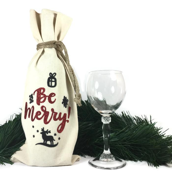 Be Merry Wine Bottle Bag WRAP09o