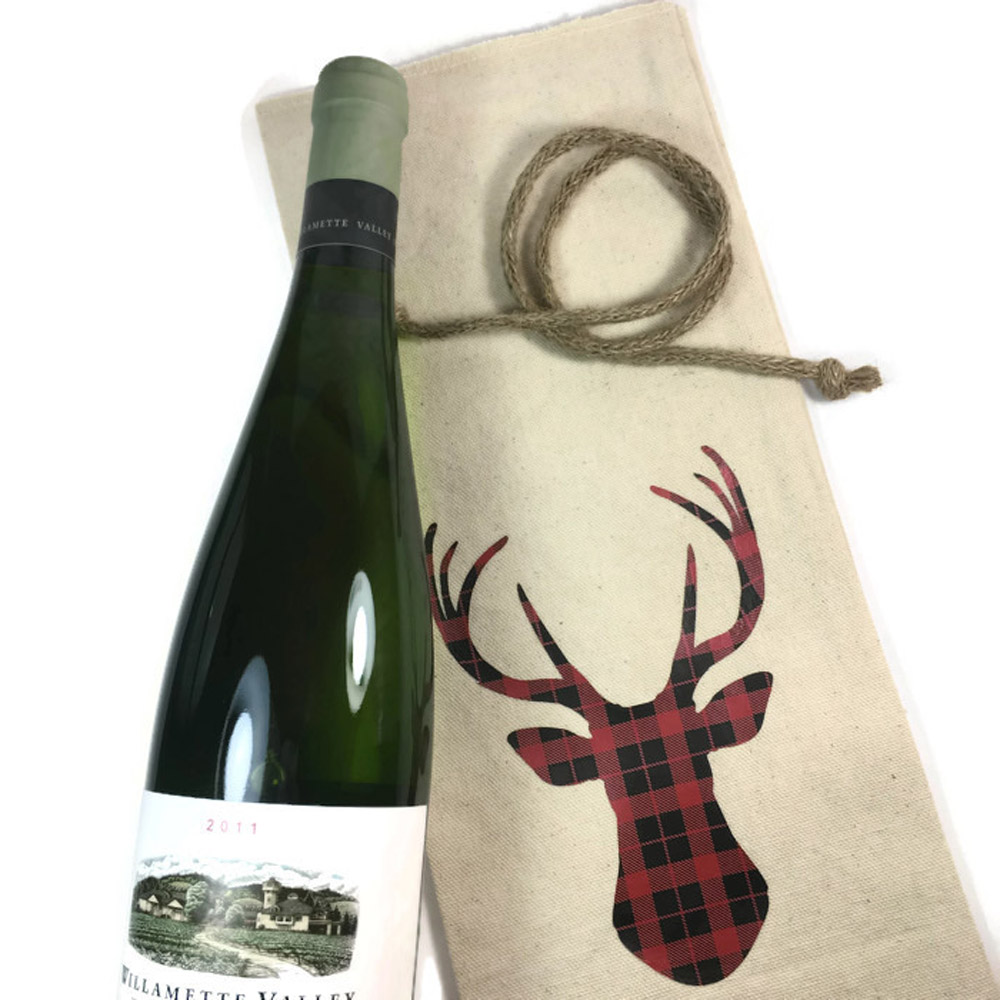 Plaid Reindeer Wine Bottle Gift Bags | Group Therapy Wine