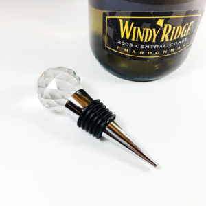 crystal wine stopper with pewter base