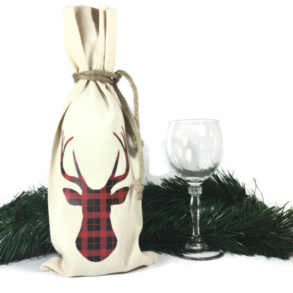 wine bottle gift bags with buffalo plaid deer