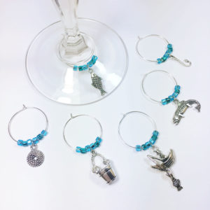 Set of 6 fishing wine glass tags