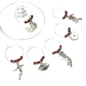 set of 6 football wine charms make a unique ohio state gift
