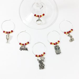 wizard wine charms, harry potter gift set of 6 wine charms
