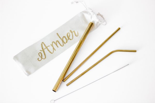 set of 3 gold metal straws with cleaning brush