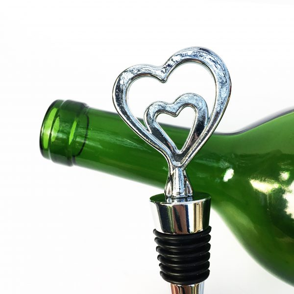 silver Double the Love wine stopper for engagements weddings anniversary