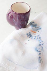 christmas snowman floursack towel