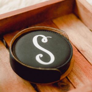 set of 6 black leather coasters