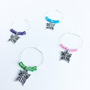 spring wine charms with butterfly charms