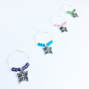 gift for women butterfly wine charms set of 4