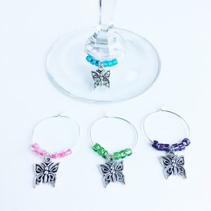 set of 4 butterfly wine glass tags